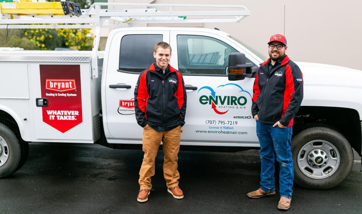 Technicians on the Enviro Heating & Air Conditioning team standing in front of a company truck in Santa Rosa, CA.