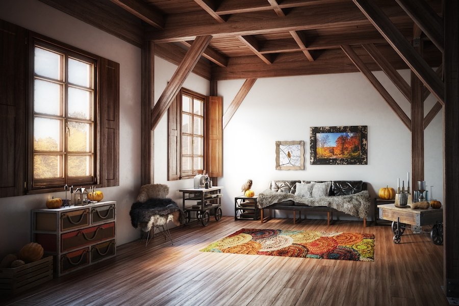 Cozy living room with Autumn decorations showing how important fall indoor air quality is to your home.